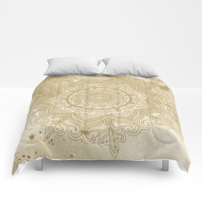 tan splash mandala swirl Comforters