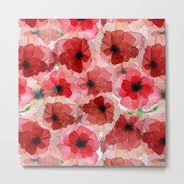 Pressed Poppy Blossom Pattern Metal Print