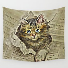VINTAGE KITTEN DRAWING PRINT Wall Tapestry