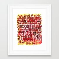 roald dahl Framed Art Prints featuring Roald Dahl Magic by From Victory Road