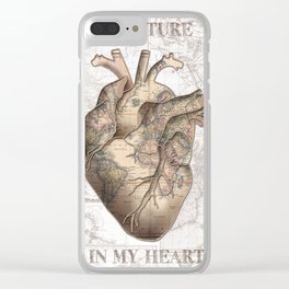 adventure heart-world map 1 Clear iPhone Case