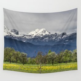 Green field with snowy alps Wall Tapestry