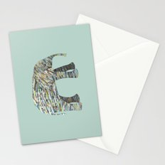 Elephant Paper Collage in Gray, Aqua and Seafoam Stationery Cards