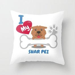 SHAR PEI Cute Dog Gift Idea Funny Dogs Throw Pillow