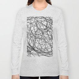 Black line doodle single line Long Sleeve T-shirt