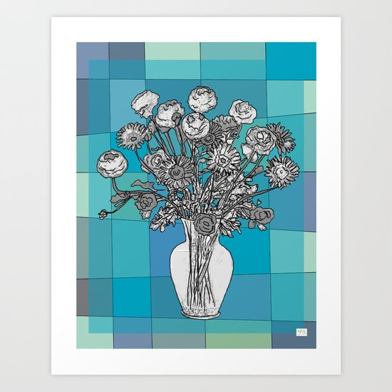 Spring Flower Vase Black & White on Mid Century Blue Palette Background - Blue Art Print