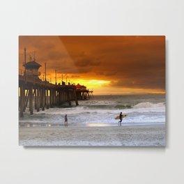 Surfer Sunset H.B. Pier Metal Print