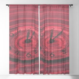 Hands of Time Red Rippling Water Art Motif Sheer Curtain