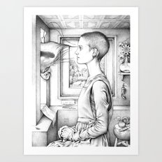 Portrait of a Woman with a Bird at a Casement (The Gay Couple) Art Print