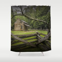 Oliver Log Cabin in Cade's Cove Shower Curtain