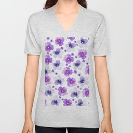 Modern purple lavender watercolor floral pattern Unisex V-Neck