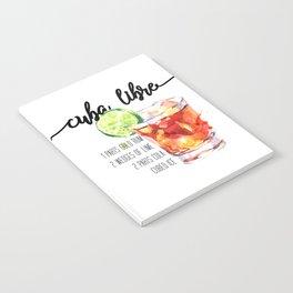 Cuba Libre - Watercolour Cocktail - Typography Art Notebook
