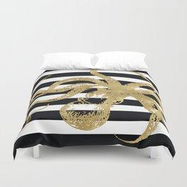 Gold Octopus on Black & White Stripes Duvet Cover
