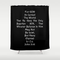 scripture Shower Curtains featuring Jesus Cross Black White by Beautiful Homes