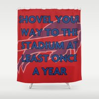 nfl Shower Curtains featuring NFL - Bills Shovel Your Way by Katieb1013
