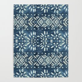 Vintage indigo inspired  flowers and lines Poster