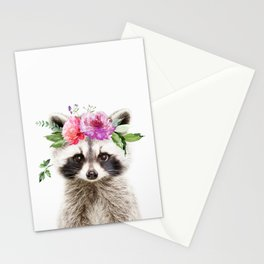 Baby Raccoon with Flower Crown Stationery Cards