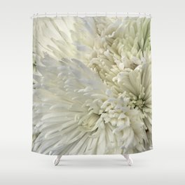 Ivory White Feathery Mums Floral Photo Shower Curtain
