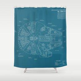 Millennium Falcon blueprint Shower Curtain