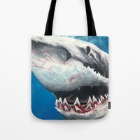 shark Tote Bags featuring Shark by Kristin Frenzel