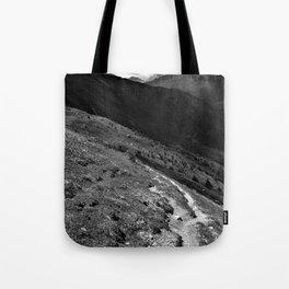 narrow hiking path alps serfaus fiss ladis tyrol austria europe black white Tote Bag