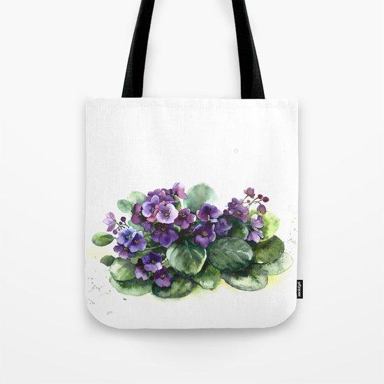 Senpolia viola violet flowers watercolor Tote Bag