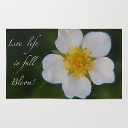 White Strawberry Flower Rug