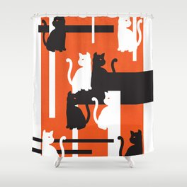 Cat in De Stijl - Halloween Edition Shower Curtain