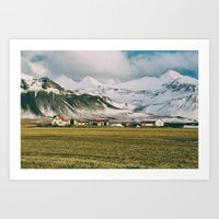 Iceland Homes in the Mountains Art Print