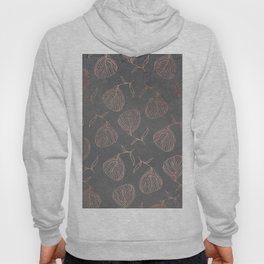 Modern floral hand drawn rose gold on grey cement graphite concrete Hoody