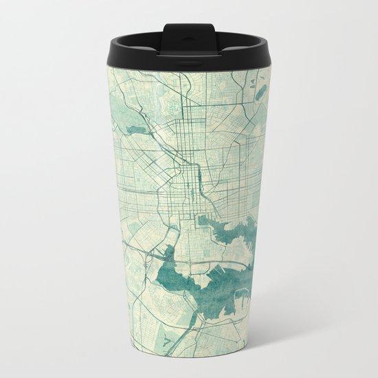 Baltimore Map Blue Vintage Metal Travel Mug