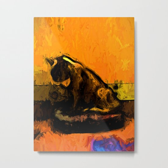 Cat and a Gold Wall Metal Print