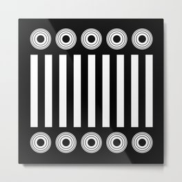 It's All In Black And White - Black and white stripes and concentric circles Metal Print