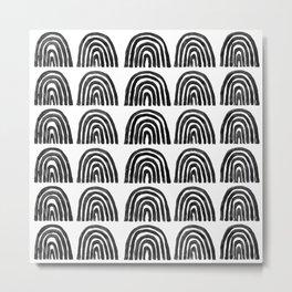 Black Boho Rainbows Metal Print