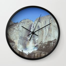 waterfall in Yosemite with a rainbow Wall Clock