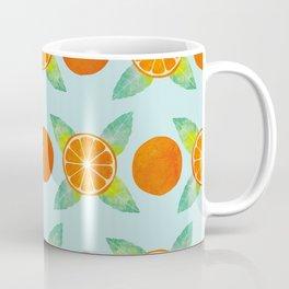 Watercolor Oranges Pattern in Blue Coffee Mug