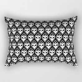 Ghost cat inside petal pattern black and white Rectangular Pillow