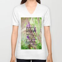 sarah paulson V-neck T-shirts featuring Sarah by KimberosePhotography