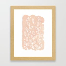 Watercolor Blush Leaves Framed Art Print