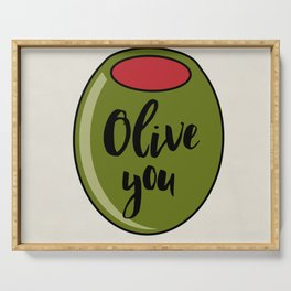 Olive You I Love You Funny Cute Valentine's Day Art Serving Tray