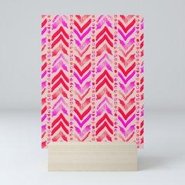 Tribal Scribble Kilim in Neon Coral + Neutral Mini Art Print