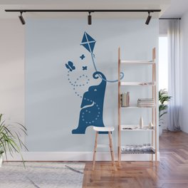Elephants Fly Kites Wall Mural