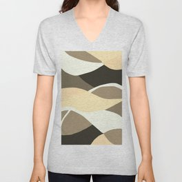 Beige Brown and Taupe Abstract Unisex V-Neck