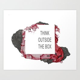 Think Outside The Box - Red Art Print
