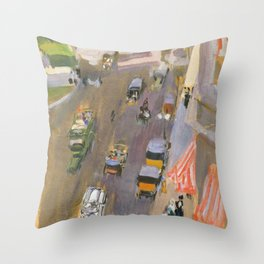 Fifth Avenue New York By Joaquin Sorolla Throw Pillow