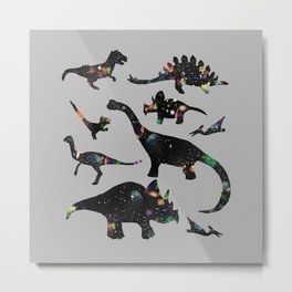 Space Dinos -Grey Metal Print