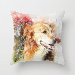 Dog sitting animal art abstract Throw Pillow