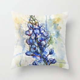 Spring Watercolor Texas Bluebonnet Flowers Throw Pillow