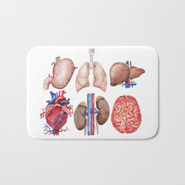 Watercolor organs Bath Mat