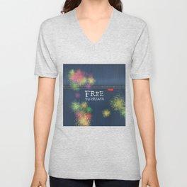 Denim Jeans - Free To Create Unisex V-Neck